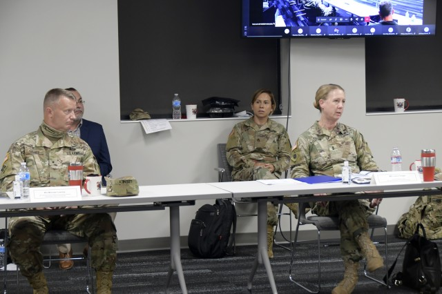 Fort Hunter Liggett hosted an in-person and virtual community relations meeting with Congressmen Jimmy Panetta and Salud Carbajal, the Civilian Aide to the Secretary of the Army, Army Reserve Ambassadors, and military leaders in the Monterey County, August 19, 2020. California Army National Guard and 40th Infantry Division Commander Major General Laura Yeager discussing health care, increase of the Basic Housing Allowance, need for funding and equipment. She also reported how Soldier morale is high and they were very proud to provide support to local communicates during civil disturbances in Sacramento and Los Angeles. Seated next to her is the 40th Infantry Division Deputy Commanding General and Camp Roberts Senior Commander Brigadier General Michael Leeney who highlighted the aging infrastructure at Camp Roberts and need of additional military construction projects. He also discussed how FHL and CR complements each other to offer expanded training capabilities to customers.