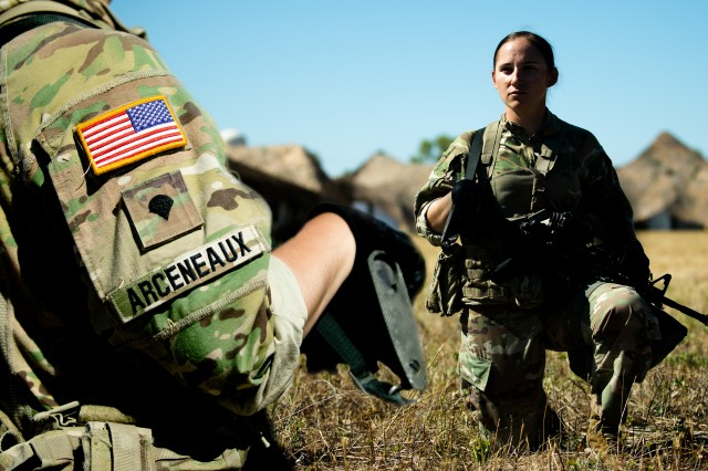 Spc. Valerie Arceneaux, 3rd Armored Brigade Combat Team, 1st Cavalry Division, poses for a series of feature photos during the Expert Soldier Badge Qualification at Fort Hood, Texas, August 19, 2020. (U.S. Army Illustration by Sgt. Calab Franklin)