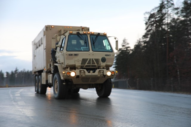 Elements of 2nd Armored Brigade Combat Team, 1st Cavalry Division, convoy to the Hohenfels Training Area for Combined Resolve XIII on Jan. 18, 2020. Combined Resolve XIII is a biannual U.S. Army Europe and 7th Army Training Command led exercise intended to evaluate and certify the readiness and interoperability of U.S. Forces mobilized to Europe in support of Atlantic Resolve.  (U.S. Army National Guard photo by Staff Sgt. Gregory Stevens)