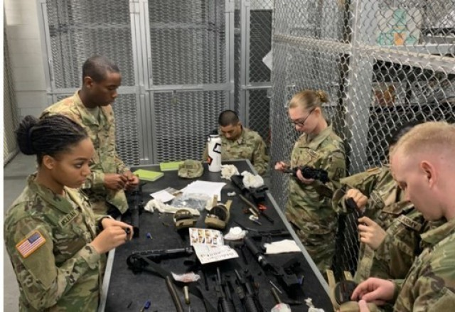 Soldiers assigned to the USANEC – Camp Zama conduct PMCS on their assigned weapon in December of 2019.