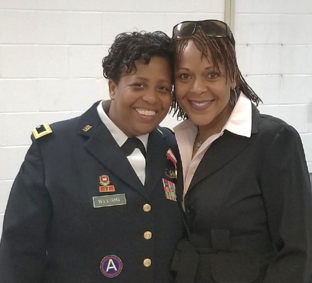 """Parks Reserve Forces Training Area Commander Lt. Col. Serena Johnson and former U.S. Army Fort Hunter Liggett/PRFTA Commander, retired Brig. Gen. Donna Williams during her retirement ceremony at the 412 TEC, May 2018.  """"She, along with many other female warriors, have been instrumental in providing professional guidance and words of wisdom along my journey"""" said Johnson."""