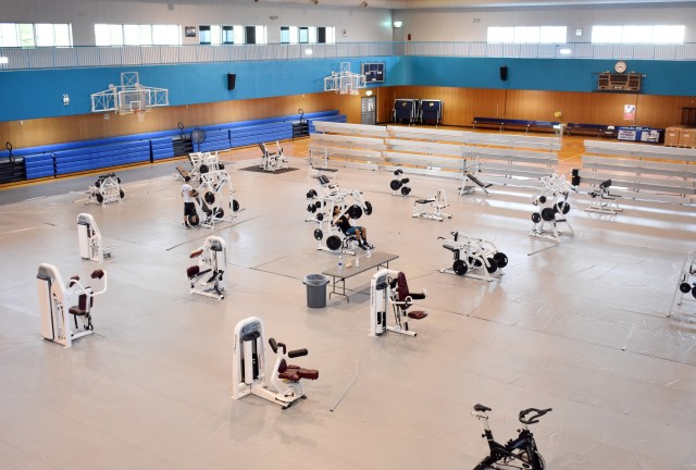 Personnel have placed exercise machines with social distancing in mind on the gym floor at the Yano Fitness Center at Camp Zama, Japan, Aug. 27.