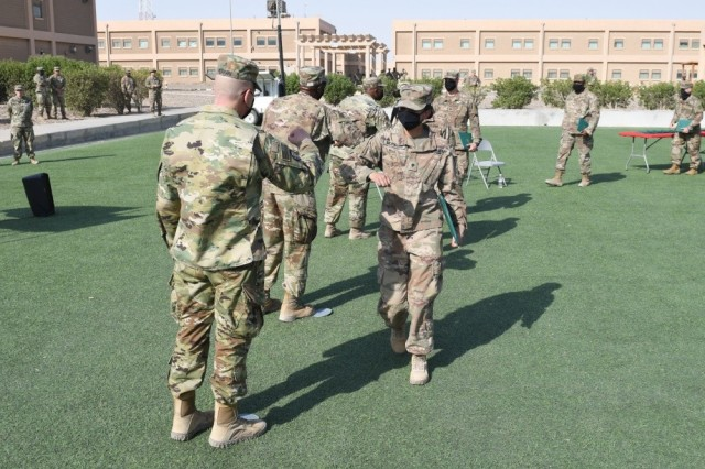More than 40 Soldiers graduate from an Emergency Basic Leaders Course at an undisclosed location in Kuwait on July 7, 2020.  The Army is currently transitioning to a performance-based annual evaluation to promote its noncommissioned officers. The evaluation will be based on several factors including performance at military training schools. The service will no longer use a centralized promotion board. The Emergency BLC is a modification of BLC, which is required for promotion to the rank of sergeant.