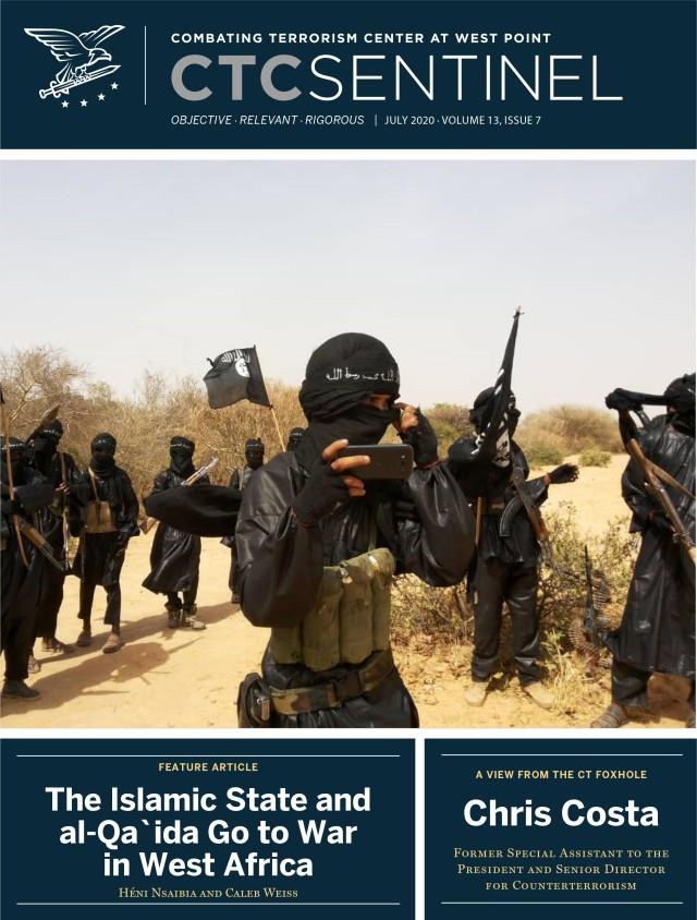 The Combating Terrorism Center's monthly publication the CTC Sentinel includes articles from CTC and external researchers. The July edition, pictured here, included articles on violence associated with the QAnon movement and COVID-19's impact on counterterrorism. Photo Courtesy of the Combating Terrorism Center