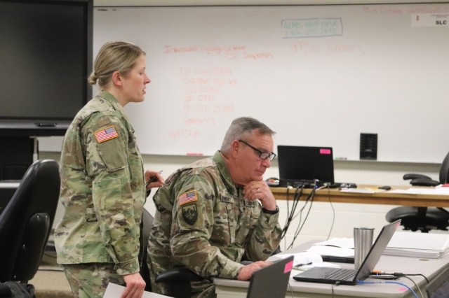 Master Sgt. Sarah Johnson, assigned to 13th Battalion, 100th Regiment, teaches a class in the 89B Senior Leader Course Jan. 28, 2020, at Fort McCoy, Wis. The course covers logistics and support operations as well as leadership skills. Instead of centralized promotion boards, the Army is moving toward a merit-based annual evaluation based in part on Soldier's performance during military training courses like the SLC.