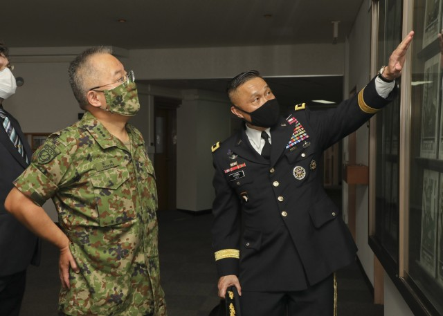 CAMP ZAMA, Japan - U.S. Army Japan Headquarters, August 20, 2020 in honor of Lt. Gen. Yoshihide Yoshida, Japan Ground Self-Defense Force's Ground Component Command's Commanding General, an Honors Ceremony was rendered by Maj. Gen. Viet. X. Luong, USARJ's Commanding General.Following the ceremony Yoshida and Luong discussed joint readiness amid COVID-19 challenges. USARJ will continue bilateral-contingency planning, strengthening of our multi-domain capabilities, and achieving enhancements in the joint war fight. We will uphold our commitment to a free and open INDOPACIFIC, by continuing to build capacity and interoperability between forces.