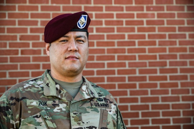"""Maj. Levi Zok with XVIII Airborne Corps, G3 Technical Operations, Space Support Element. Zok provided life-saving care to the victim Aug. 4, 2020. """"I think about how if I would've left work any earlier or later, and if my wife wouldn't have needed me to stop at the store, I wouldn't have been there."""" (U.S. Army photo by Spc. Matthew O. Deckelman/22nd Mobile Public Affairs Detachment)"""