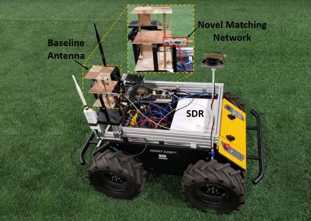 The prototype miniature antenna is integrated on an unmanned ground vehicle with a software-defined radio and other robotic sensors. The system streams video between the UGV and a second node.