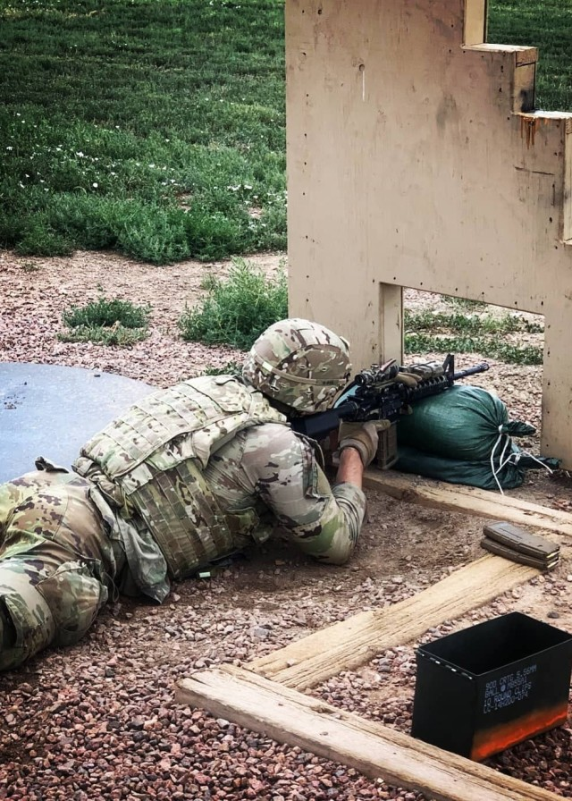 A Soldier with 1st Battalion, 12th Infantry Regiment, 2nd Stryker Brigade Combat Team, 4th Infantry Division, qualifies on their assigned weapon during the Platoon Leader Assessment Selection Program Aug. 17-28 at Fort Carson, Colorado. The program, first held July 2019 and unique to the battalion, assesses and prepares lieutenants in the battalion to be assigned to positions that will challenge them and set them up for success during their time in the battalion and the U.S. Army. (U.S. Army photo by Capt. Chelsea Durante)