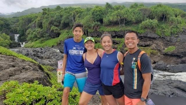 The Tugaoen family hiking together on Maui, 2019