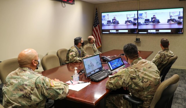 Personnel from the U.S. Army South Security Cooperation Division, listen in during the Central America Working Group virtual meeting held Aug. 24-28. The CENTAM Working Group provides Army South, along with U.S. Embassy Security Cooperation Office teams and partner nation armies from El Salvador, Guatemala and Honduras, with a forum to enhance professional relationships and improve land forces capabilities.