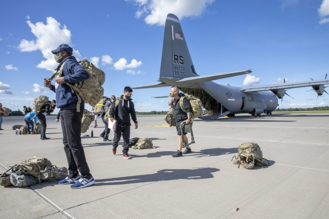 A C-130 Aircraft landed on Amari Air Field, Estonia, to drop off U.S. Soldiers, assigned to Bravo Battery, 1st Battalion, 6th Field Artillery Regiment, 41st Field Artillery Brigade, for Rail Gunner Rush on Aug. 28, 2020. Rail Gunner Rush is the first live-fire exercise for the 41st FAB outside of Grafenwoehr, Germany, since their reactivation in 2018. (U.S. Army photo by Spc. Ryan Barnes)