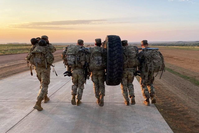 Soldiers with 1st Battalion, 12th Infantry Regiment, 2nd Stryker Brigade Combat Team, 4th Infantry Division ruck march during the first week of Platoon Leader Assessment Selection Program Aug. 17-28 at Fort Carson, Colorado. The program, first held July 2019 and unique to the battalion, assesses and prepares lieutenants in the battalion to be assigned to positions that will challenge them and set them up for success during their time in the battalion and the U.S. Army. (U.S. Army photo by Capt. Chelsea Durante)
