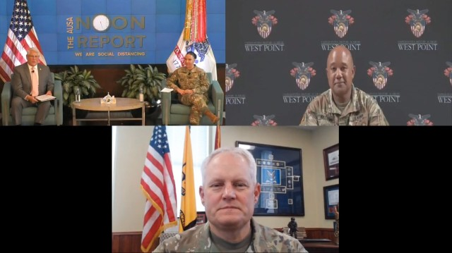 Army leaders take part in an Association of the U.S. Army Noon Report discussion on race Sept., 2, 2020. Clockwise from left are retired Gen. Carter Ham, AUSA president and CEO; Command Sgt. Maj. Julie Guerra, Army G-2 sergeant major; Lt. Gen. Darryl Williams, U.S. Military Academy superintendent; and Maj. Gen. John Evans, U.S. Army Cadet Command commander.