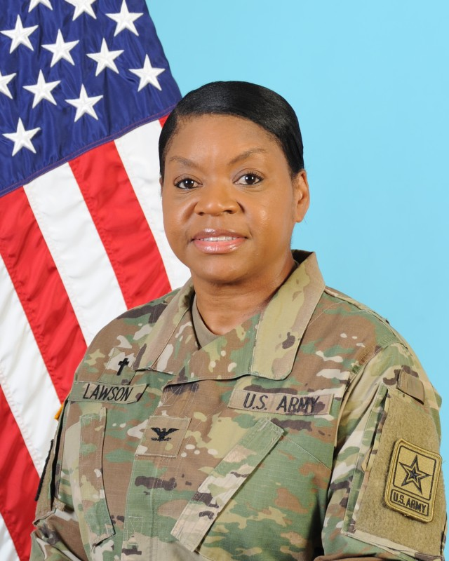 Col. Monica Lawson became the Army's first active-duty African-American female chaplain to be promoted to colonel during a ceremony Sept. 2, 2020.