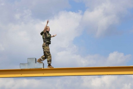 A U.S. Military Academy cadet participates in an obstacle course during training at West Point, N.Y., July 20, 2020.