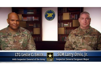 The Army Inspector General and Sergeant Major address IGs
