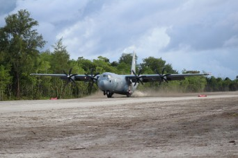 U.S. Military lands C130 on newly renovated Angaur Airfield in Palau