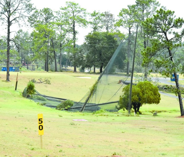 Fort Polk's Warrior Hills Golf Course lost several trees and the netting by the driving range to Hurricane Laura.