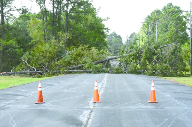 Trees downed by Hurricane Laura's 130 mile per hour winds blocked roadways across the Joint Readiness Training Center and Fort Polk.