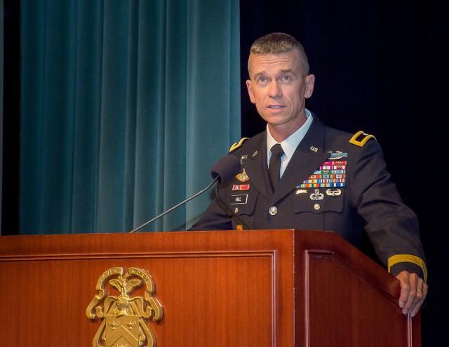 Brig. Gen. Donn H. Hill speaks at CGSOC Flag Ceremony