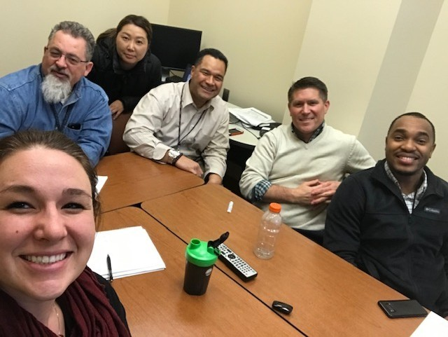 Liz Furlong (left), ACC-RI contract specialist, takes a selfie with her JTL II group prior to the COVID-19 pandemic, which changed the program's format from in-person to virtual. (Photo by Liz Furlong)