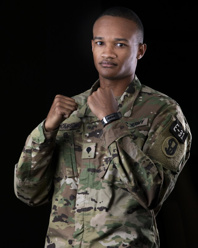 """Spc. Stanley Thompson, a U.S. Army Reserve indirect fire infantryman, representing the 108th Training Command (Initial Entry Training), poses for portraits during the 2020 U.S. Army Reserve Best Warrior Competition on Sept. 5, at Fort McCoy, Wisconsin. Approximately 50 Soldiers from across the nation traveled to compete in this year's Best Warrior, hosted from Sept. 4-10, 2020. The 2020 BWC is an annual competition that brings in the best Soldiers across the U.S. Army Reserve to earn the title of """"Best Warrior"""" among their peers. Competitors are evaluated on their individual ability to adapt and overcome challenging scenarios and battle-focused events, which test their technical and tactical abilities under stress and extreme fatigue. (U.S. Army Reserve photo by Spc. Jamaal Turner)"""
