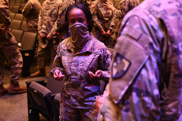 U.S. Army 2nd Lt. Vaniah Mack, 5th Battalion, 5th Air Defense Artillery, talks to cadets during a Profession of Arms panel. Branch Week is conducted once a year at West Point, NY. (U.S. Army photo by Don Herrick)