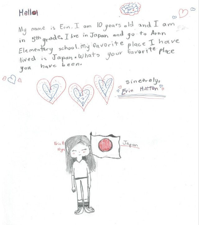 """Naomi Coleman, 9, wrote this letter for """"Letters Across the Pacific,"""" an initiative to celebrate the Month of the Military Child where children from Camp Zama in Japan, Schofield Barracks in Hawaii, Camp Walker in Daegu, South Korea, and Fort Wainwright in Alaska, write to each other."""