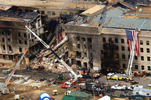 An aerial view of the damage at the Pentagon following the terrorist attacks on Sept. 11, 2001.