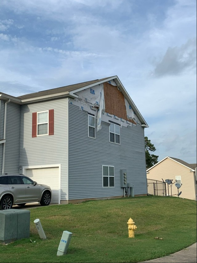 Hurricane Laura's winds ripped siding and shingles from Fort Polk housing, offices and unit buildings.