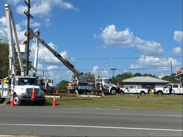 Crews worked round-the-clock to restore power and communications to the installation and surrounding area.