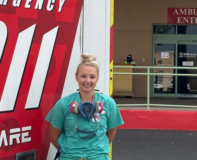 1st Lt. Brittany Fouts, an Army Reserve critical care nurse from Peoria, Ariz. at DHR Health in Edinburg, Texas, late August 2020. Fouts mobilized with Urban Augmentation Medical Task Force -7452 as part of the Department of Defense support to COVID-19.  U.S. Northern Command, through U.S. Army North, remains committed to providing flexible Department of Defense support to the Federal Emergency Management Agency in support of the whole-of-America COVID-19 response.