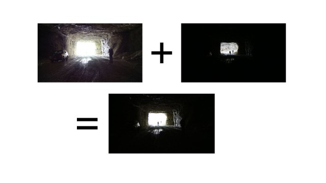 Examples of high dynamic range luminance in views of a cave opening, where combinations of indoor and outdoor luminance can exceed a 10,000-to-1 maximum-to-minimum luminance ratio. The scene at the right is a blended image across multiple exposures, illustrating the human ability to see multiple targets (three uniforms and one car) across vast luminance differences in the same view.