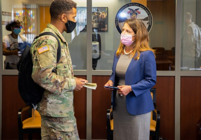 Michele Pearce, right,  the Army's principal deputy general counsel, speaks with cadets in the Department of Law during her visit to West Point, N.Y., Sept. 8, 2020. If confirmed by the Senate, Pearce will become the first Hispanic-American woman to serve as the Army's general counsel.