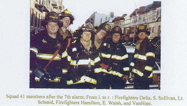 "Richard ""Bruce"" Van Hine, far right, with members of his Bronx/Harlem Squad 41 firefighting crew around 2000. (Photos courtesy of Jerry Kiernan/retired WPFD firefighter)"