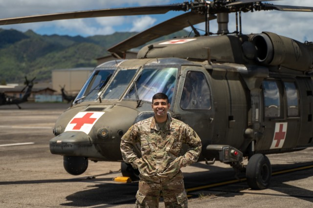 First Lt. Mahdi Al-Husseini serves as an active-duty aeromedical evacuations officer with 3rd Battalion, 25th Aviation Regiment at Wheeler Army Airfield, Hawaii. He is also an engineer currently developing an aerial hoist stabilization system that could help save lives during an in-air medical extraction.