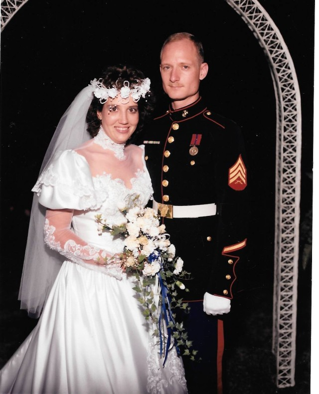 Barbara Wright and her husband, Maj. Bryan Thomas Wright, pose for a photo on their wedding day, Aug. 24, 1988. Shortly after joining the Marine Corps, 33 years ago, Wright met her future husband, changing life as she knew it. (Courtesy Photo)