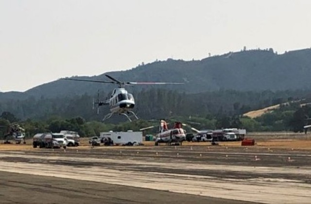 Tusi Army Airfield on U.S. Army Garrison Fort Hunter Liggett is being utilized as a Heli tack Base for the Dolan Fire in the Los Padres National Forest. Each helicopter comes with its own flight crew, fuel truck and maintenance personnel.