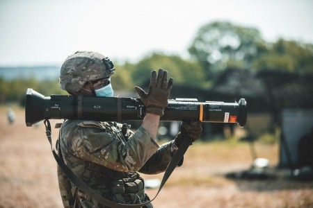 Spc. Mason Ambort prepares to qualify on the AT4 unguided anti-armor weapon during Expert Soldier Badge (ESB) and Expert Infantry Badge (EIB) testing, Fort Hood, Texas, Aug. 24, 2020.