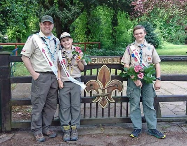 Lt. Col. Joel Gleason, commander of U.S. Army Garrison Okinawa and Scoutmaster of Boy Scout Troop 101 in Okinawa, poses for a photo with his sons Kipp and Colton at Gilwell Park, London, during a scouting event in May 2019. Gilwell is the home of the worldwide organization of the scouting movement and where its founder, Lord Robert Baden-Powell, first developed many of the scouting activities still popular today.