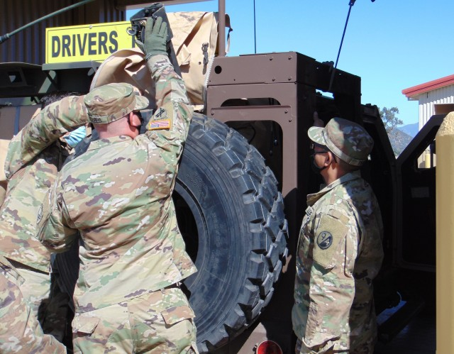 Instructors assigned to the 3rd Brigade, 94th Training Division – Force Sustainment (TD-FS), explains the Joint Light Tactical Vehicle (JLTV) characteristics, features, operations, maintenance aspects to students attending the first Fort Hunter Liggett, California, JLTV Operator New Equipment Training Course, August 9-14, 2020. The 94th TD-FS leads the JLTV driver's training courses for all Army's components. (U.S. Army Reserve photo by Staff Sgt. Eric Sievert)