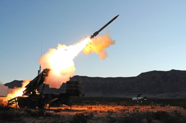 The Army test fires a Patriot missile in a recent test. The Patriot missile system is a ground-based, mobile missile defense interceptor deployed by the United States to detect, track and engage unmanned aerial vehicles, cruise missiles, and short-range and tactical ballistic missiles.
