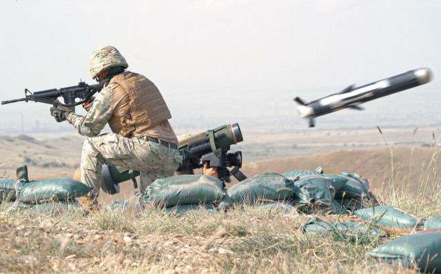 Georgian Soldier, assigned to the Georgian Defence Forces, fires the Javelin anti-tank missile to begin the live-fire training exercise at the Vaziani Training Area in Georgia from September 7th to September 18th. Designed to enhance regional partnerships and increase U.S. force readiness and interoperability, the exercise allows participants to conduct sniper and demo ranges, situational training exercises, live-fire exercises and combined mechanized maneuvers. The 4th Squadron, 2d Cavalry Regiment led the multinational training exercise for the regiment and served with approximately 2,800 service members from Georgia, France, Poland and the United Kingdom. (U.S. Army photo by Sgt. LaShic Patterson)