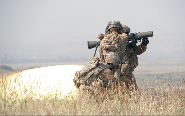 U.S. Soldier, assigned to the 4th Squadron, 2d Cavalry Regiment, fires the Carl Gustaf anti-tank weapon system during a live-fire training exercise at the Vaziani Training Area in Georgia from September 7th to September 18th. Designed to enhance regional partnerships and increase U.S. force readiness and interoperability, the exercise allows participants to conduct sniper and demo ranges, situational training exercises, live-fire exercises and combined mechanized maneuvers. The 4th Squadron, 2d Cavalry Regiment led the multinational training exercise for the regiment and served with approximately 2,800 service members from Georgia, France, Poland and the United Kingdom. (U.S. Army photo by Sgt. LaShic Patterson)