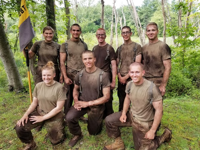 Class of 2021 Cadet Eston Smith (top row, far right) with the Cadet Basic Training squad he led two summers ago.     Courtesy Photo