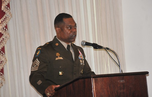 Sgt. Maj. Edward A. Bell addresses those gathered for his retirement ceremony at the Lee Club Sept. 18. Bell spent more than 33 years in the Army culminating with a three-year stint as the sergeant major, Office of the Deputy Chief of Staff, G-4.