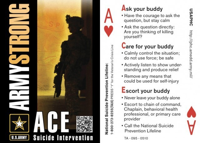 The Army's ACE three-stage suicide prevention model for helping prevent suicide can be used with any person, whether Soldier, Civilian or Family member.