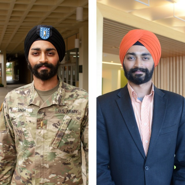 Kanwar Singh, a second lieutenant in the Massachusetts National Guard, works as a digital project leader for a major financial services company in Boston. Singh has earned three master's degrees including a master's of liberal arts from Harvard University.