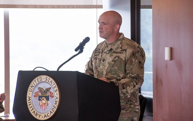 CSM Michael J. Coffey speaks to the audience after taking responsibility of the command sergeant major position. (U.S. Army photo by Kyle Osterhoudt USMA/PAO).
